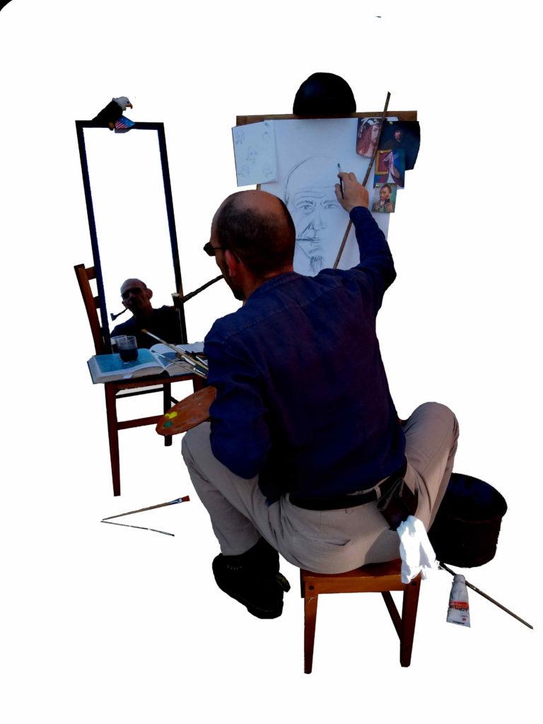 « Triple autoportrait » - Loïc AUTEM<br /> D'après « Triple autoportrait » (1960) de Norman ROCKWELL